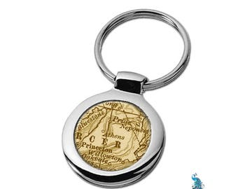 Map Keychain Athens West Virginia Key Ring Fob Antique Map of WV