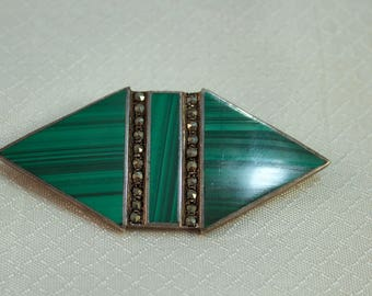 Sterling and Malachite Art Deco Brooch