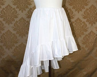 """HALF OFF High Low Mini Cecilia Skirt -- White Cotton -- Ready to Ship -- Best Fits Up To 38"""" Waist"""