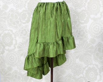 """Steampunk High Low Cecilia Skirt, Longer Length -- Light Olive Crinkle Taffeta -- Ready to Ship -- Best Fits Up To 48"""" Waist"""