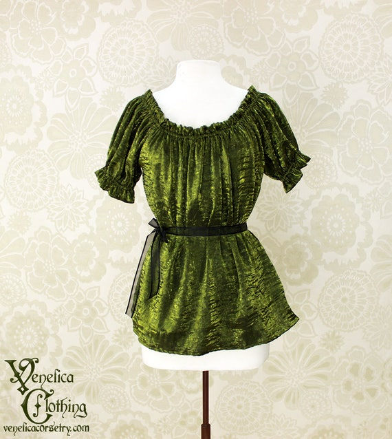 "Renaissance Steampunk Cora Chemise in Olive Crinkled Shimmer Satin - Sz. M - Bust 36""-42"""