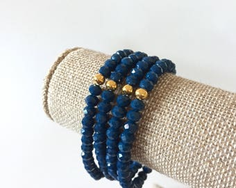 Navy Blue Crystal Bracelets Set of 4