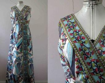 70s Blue Floral Pucci-esque Maxi Patio Dress Medium