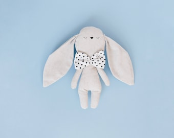 Little bunny handmade cuddly toy with polka dot bow tie