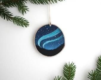 Norhtern Lights Night Sky Ornament - Hand Painted Christmas Ornament - Woodland Ornament