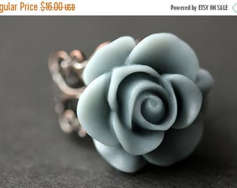 SUMMER SALE Gray Blue Rose Ring. Blue Grey Flower Ring. Gold Ring. Silver Ring. Bronze Ring. Copper Ring. Adjustable Ring. Handmade Jewelry.