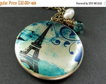 BACK to SCHOOL SALE Teal Paris Locket Necklace. Eiffel Tower Necklace. Paris Necklace with Teal Teardrop and Pearl. Eiffel Tower Locket. Han