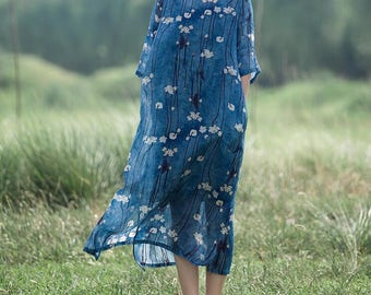 Loose Hem open round collar long dress Printed linen gown
