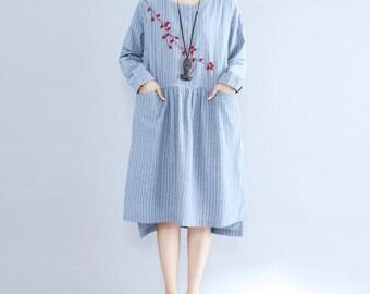 Light blue long sleeved dress dark gray Long dress asymmetrical Loose dress Women Fall clothes