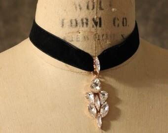 Rose Gold Choker, Choker, black velvet bridal choker, Diamond Choker, Crystal Choker, bridal Necklace, bridal jewelry, Rose Gold Necklace