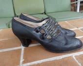 Vintage women's shoes pumps heels 1920's black original textiles steampunk 1910's Edwardian