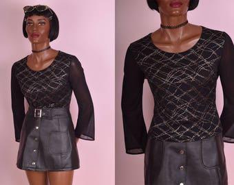 90s Glitter Grid Mesh Sleeve Top/ Small/ 1990s/ Long Sleeve/ Rave/ Clubkid