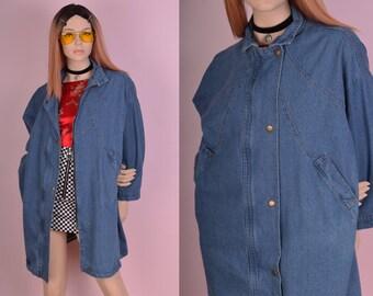 90s Blue Denim Jacket/ Large/ 1990s