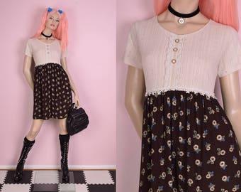 90s Floral Print Dress/ Medium/ 1990s/ Short Sleeve