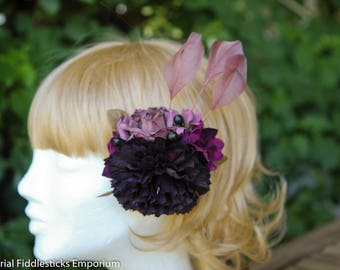 Muted, Dark Purple Floral Hair Clip/Brooch with Feathers - Handmade - One of a Kind