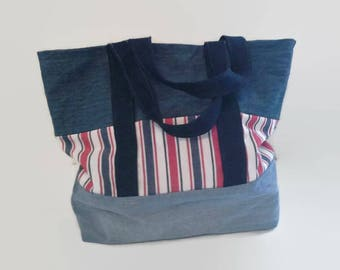 Large Red White and Blue Tote Bag, Upcycled Denim,  Overnight Bag,  Sustainable Beach Bag