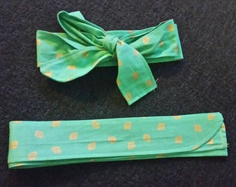 Gold Strawberry on Teal Fabric Headband.