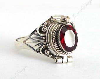 Red Garnet Poison Sterling Silver Ring Locket Secret Compartment JD30