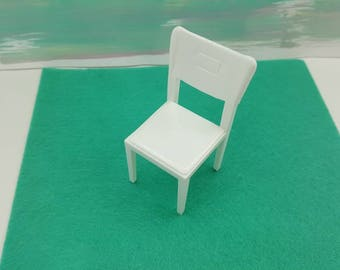 Marx Marxie Mansion softPlastic pure white   Kitchen Pieces Toy fridge stove Sink Table  Chair Dollhouse Traditional Style