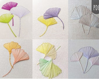 Hand Embroidery PDF Pattern Botanical Ginkgo Leaves