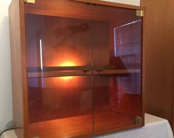 Danish Modern Teak Cabinet Book Shelf China Display Vintage Made Denmark  Lighted Glass Doors Modernist Small