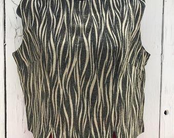 1960s Wild Zebra Lame Pullover Top L