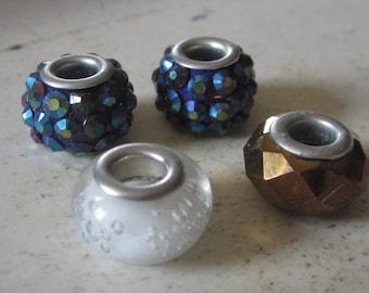 4 Shiny Large Hole Beads