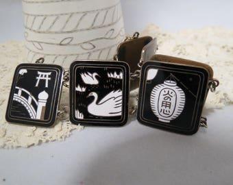 Vintage Enameled Large Link Bracelet Black White Oriental Motif Guard Chain