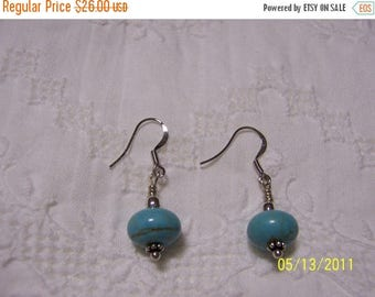 TWICE A YEAR, 25% Off Turquoise Color Magnesite dangle earrings. platinum plated.