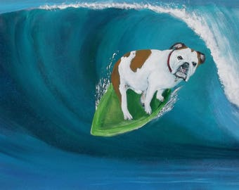 "English Bulldog Art Print of an original painting,8x10,Dog Art,Surf Art""The Local"""