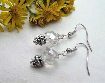 Crystal Clear Silver Plate Drop Earrings