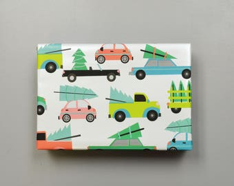 Christmas Trees and Cars Wrapping Paper, 2 Feet x 10 Feet