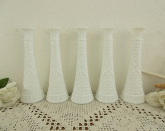 Vintage White Milk Glass Vase Set Bud Small Bouquet Collection Mid Century Country Cottage Home Decor Wedding Reception Table Decoration