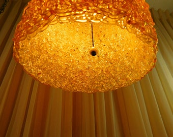Vintage 1960s swag light ,60s Lucite Spaghetti String Swag Hanging Lamp ,barrel shape