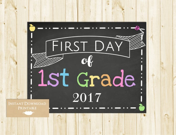 First Day of School Sign, Back to School Chalkboard Sign, 1st Day of School Sign, First Grade, 1st Grade, INSTANT DOWNLOAD