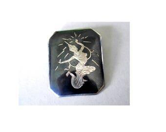 SALE Vintage Sterling Silver Siam Niello Pin Mekkala Goddess of Lightning Brooch