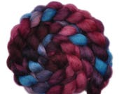 Hand painted spinning fiber - Wensleydale wool combed top roving - 4.0 ounces - Ruffled Feathers