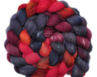 Hand painted combed top roving - Silk / Shetland wool 30/70% spinning fiber - 4.0 ounces - Emergency 2