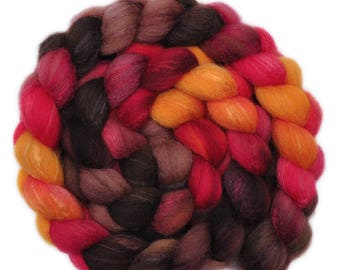 Hand painted combed top roving - Silk / Shetland wool 30/70% spinning fiber - 4.1 ounces - Forging Iron 1
