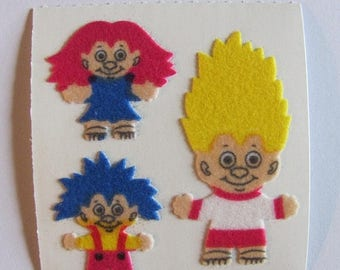 SALE Troll Doll Sandylion Vintage Fuzzy Stickers - 80's Collectible Retro Toy Scrapbook