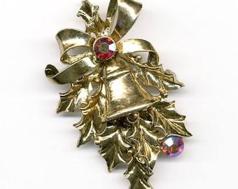 Vintage Hollycraft Holiday Pin Holly, Bell & Ribbon Brooch Goldtone Signed