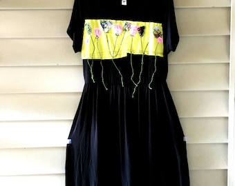 Recycled black summer  dress tunic  Upcycled clothing Patchwork Floral dress   Applique  Cotton Rayon fabric