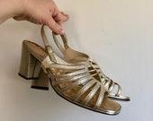 Vintage 60's Gold Block Heel Sandals 9 9.5 Wide