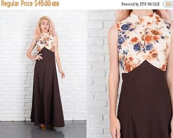 Sale Vintage 70s A Line Floral Dress Maxi Brown Cream Flower Boho Hippie Medium M 9964