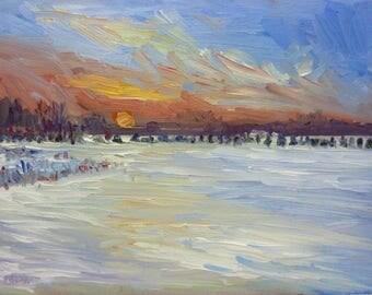 Original Landscape Oil Painting Snow at Dusk