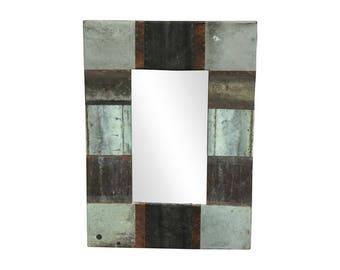 16 in. x 22 in. Patchwork Reclaimed Copper Framed 4.5 in. Mirror