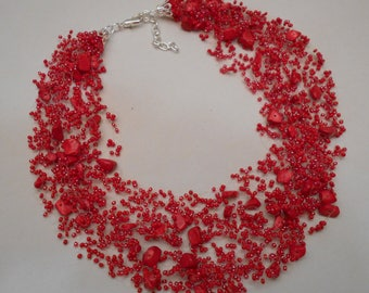 Free Shipping!!! Handmade. Multistrand Air Necklace. Jewelry Bead Crochet Necklace. Bead Crochet.  With Corals. #3