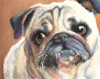 Pug Dog Watercolor Fine Art Print on Paper, Metal, or Bamboo