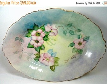 Sale Antique Hand Painted Floral Porcelain Oval Serving Bowl Tray 12in Signed Home Decor Collectibles