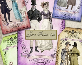 Jane Austen Books: 6 tag/label designs digital collage sheet. DIGITAL DOWNLOAD